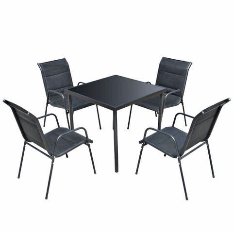 vidaXL Outdoor Dining Set 5 Pieces Black