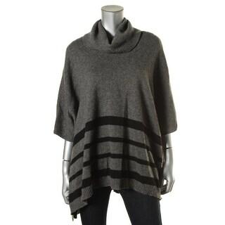 Tahari Womens Wool Ribbed Trim Poncho Sweater - M