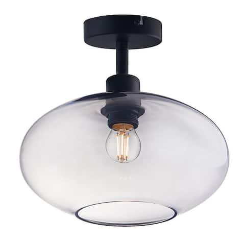 Archiology 1-Light Semi Flush Mount Ceiling Light Glass Shade