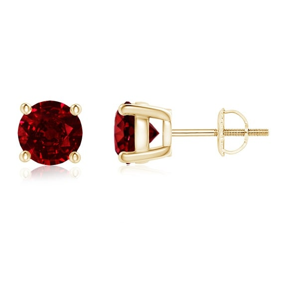 Angara Ruby Diamond Basket Stud Earrings in 14k Yellow Gold DqhPwH6Dii