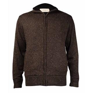 Weatherproof Men's Vintage Zip-Front Sweater Jacket (Expresso Tweed, L)