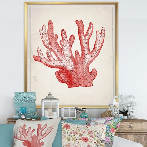 Designart 'Red Coral 3' Nautical & Coastal Framed Art Print
