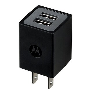 Motorola Dual Port Universal Charger with MicroUSB Data Cable (Black)