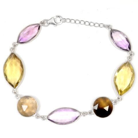 Lemon Quartz, Amethyst, Smoky Quartz Sterling Silver Marquise Chain Bracelet by Orchid Jewelry