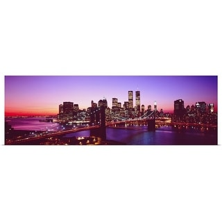 """New York City, Brooklyn Bridge, twilight"" Poster Print"