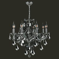 """Worldwide Lighting W83118C26-CH Lyre 8-Light 1 Tier 26"""" Chrome Chandelier with Silver Crystals - N/A"""