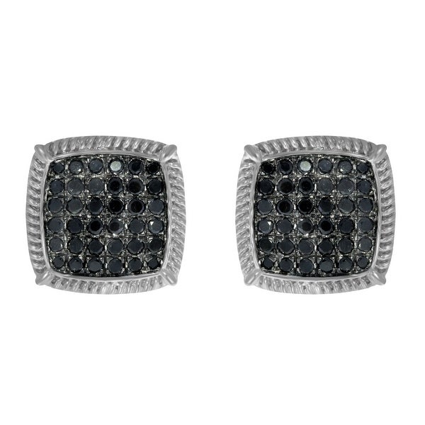 Prism Jewel 1.00Ct Black Diamond Cluster Earring With Screw Back - N/A