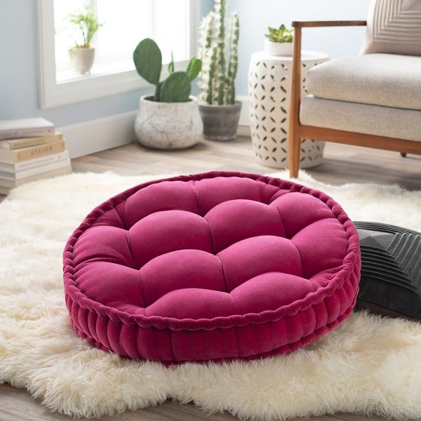 The Curated Nomad Atlanta 30-inch Pink Round Tufted Velvet Floor Pillow. Opens flyout.