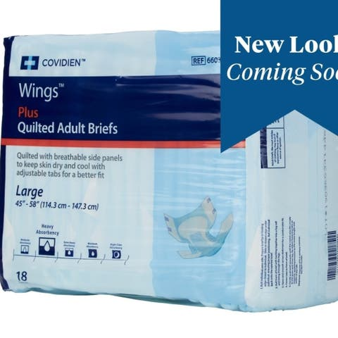 Cardinal 75343101 Wings Adult Heavy-Absorbent Incontinence Brief Blue - Large - Pack Of 18