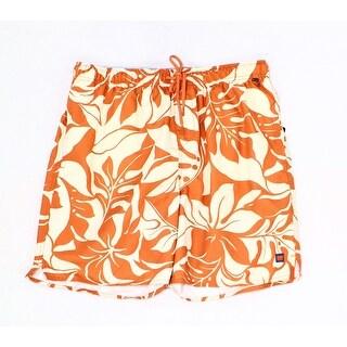 Cova NEW Orange Mens Size XL Floral Print Drawstring Trunks Swimwear