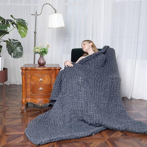 Chunky Knit Blanket Handmade Knitted Throw Blankets Soft Blanket