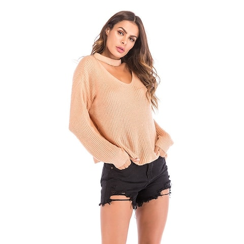 New Women's Wool Knit Sweater Halter V-Neck Sweater Loose Large Size Top