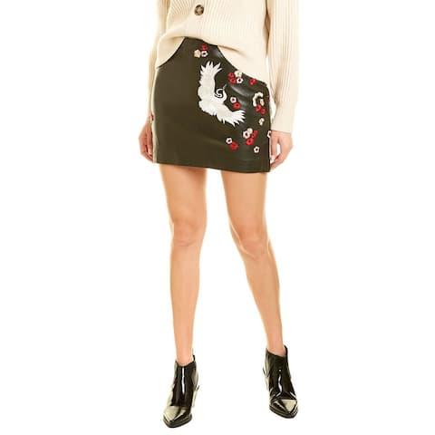 Nicole Miller Crane & Cherry Blossom Leather Mini Skirt
