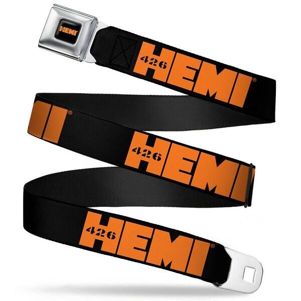 Hemi 426 Logo Full Color Black Orange Hemi 426 Logo Repeat Black Orange Seatbelt Belt