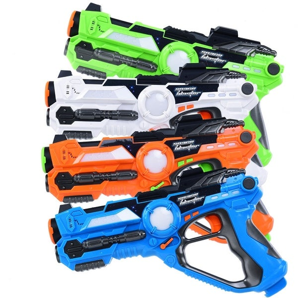 Costway Set of 4 Infrared Laser Tag Guns Indoor Outdoor 4 Players Team Group Activity - Blue, Orange, White, Green