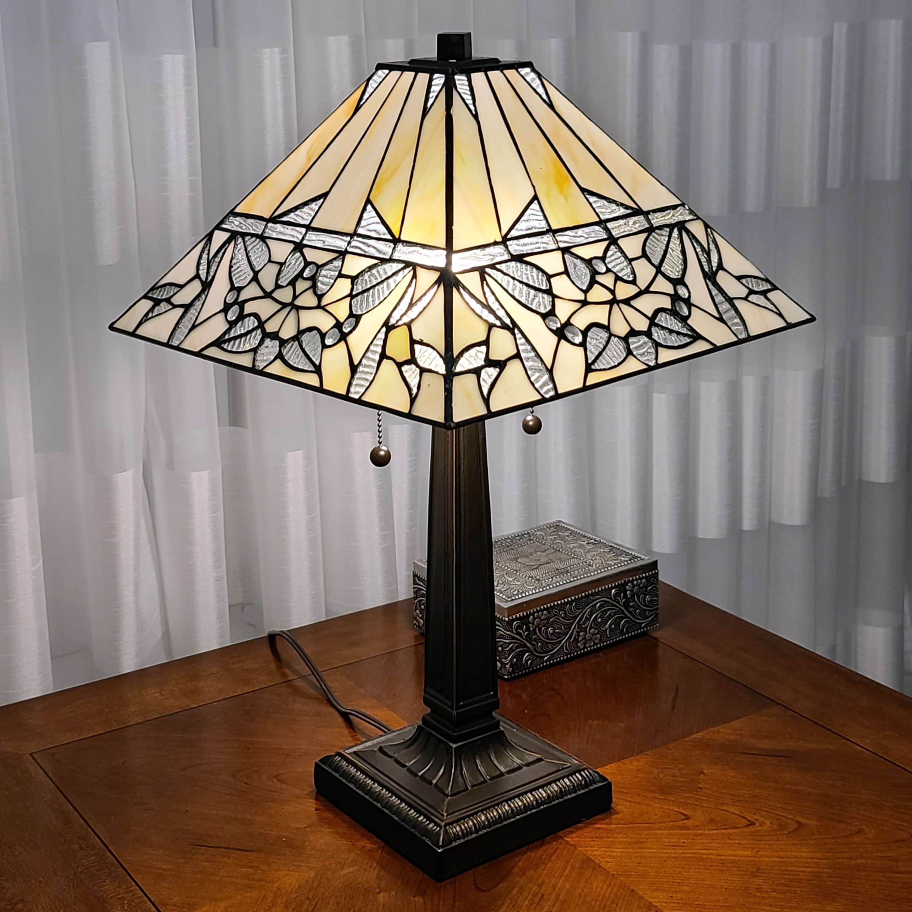 Shop Black Friday Deals On Tiffany Style Table Lamp Mission 22 Tall Stained Glass Ivory Brown Antique Vintage Light Am308tl14b Amora Lighting Overstock 30642099