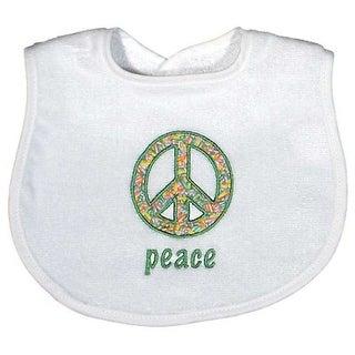 "Raindrops Unisex Baby ""Peace"" Appliqued Bib, White - One size"
