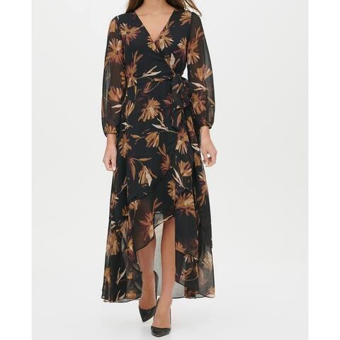 Tommy Hilfiger Womens Maxi Dress Black Size 10 Miranda Floral Chiffon