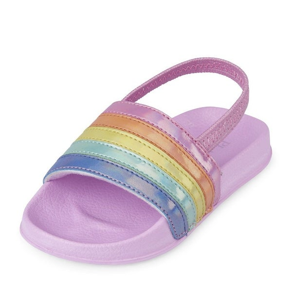 The Children's Place Kids' Tg Rnbw Slides Flat Sandal - TDDLR 4 Medium US Big Kid