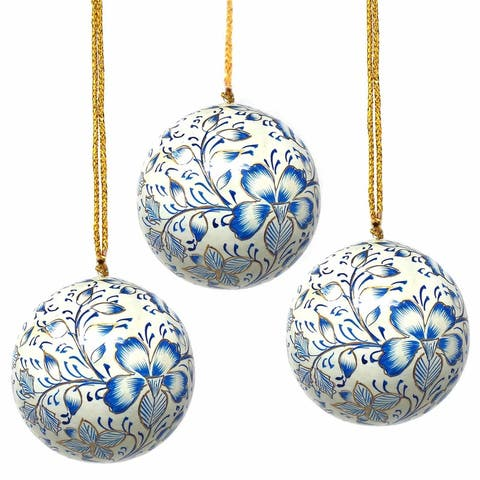 Recycled Paper Handpainted Floral Ornaments, Set of 3 (India)