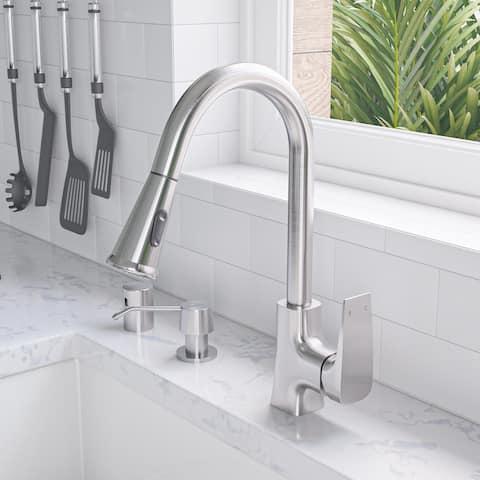 Brushed Nickel Square Gooseneck Pull Down Kitchen Faucet