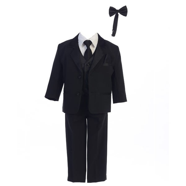 Boys Black Jacket Vest Bow Tie Zipper Tie Shirt Pant Tuxedo