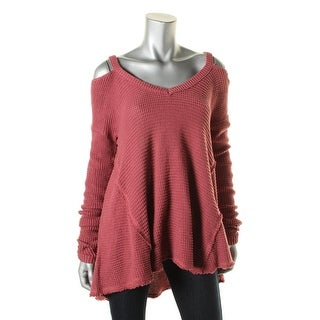 Free People Womens Cotton Cold Shoulder Sweater
