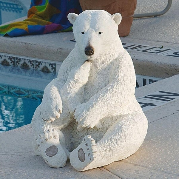 """19"""" Mama And her Baby Polar Bear Outside Garden Statue - N/A"""