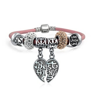 Bling Jewelry Valentines Day Sorority Sister BFF Beads Charm Bracelet 925 Sterling