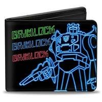 Electric Grimlock Pose + Autobot Logo Black Green Blue Red Bi Fold Wallet - One Size Fits most