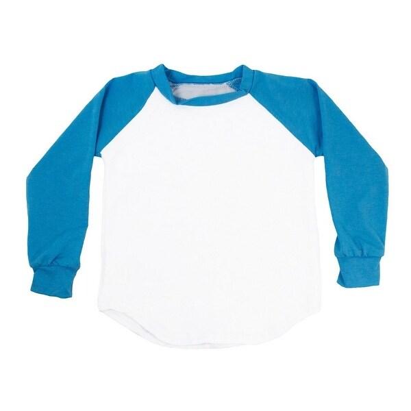 Unisex Baby Turquoise Two Tone Long Sleeve Raglan Baseball T-Shirt 6-12M