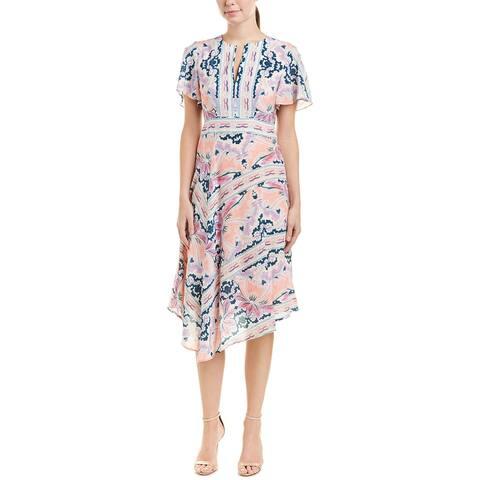 Nanette Lepore Papa's Roses Silk Midi Dress