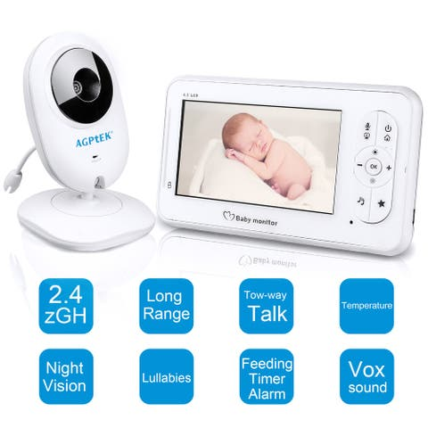 "4.3"" Video Baby Monitor Digital 2.4Ghz Wireless Camera with Temperature Sensor, 2-Way Talk, Night Vision and Lullaby"