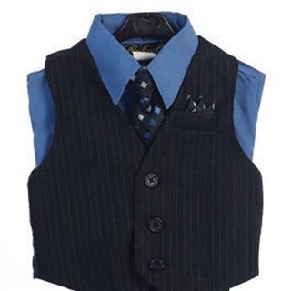 Angels Garment Blue 4 Piece Pin Striped Vest Set Boys Suit 2T-4T