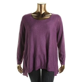 Eileen Fisher Womens Plus Wool Blend Scoop Neck Pullover Sweater
