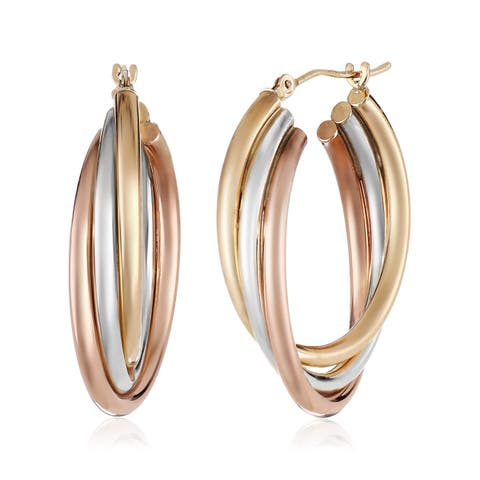 Three-Tone Twisted Hoop Earrings in Sterling Silver & 14K Gold