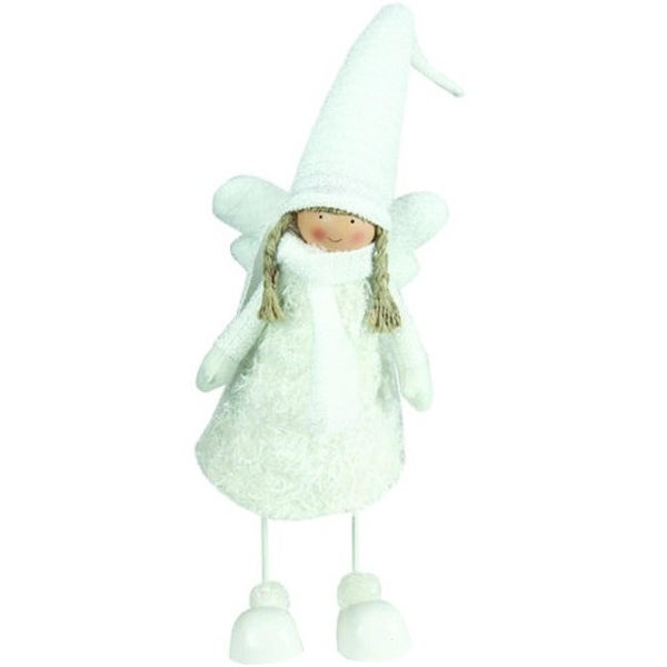 "26.75"" Snowy Woodlands White Bobble Girl Angel Christmas Figure"