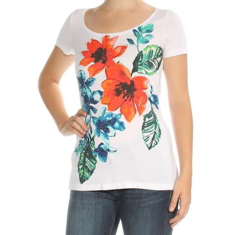 TOMMY BAHAMA Womens White Floral Cap Sleeve Jewel Neck Top Size: 3XS