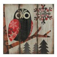 """13.75"""" Alpine Chic Wide - Eyed Owl in Woods with Snowflakes Wall Art Plaque - Red"""
