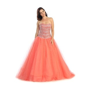 Strapless Beaded Ball Gown