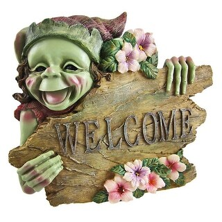 Cute Forest Pixie Welcome Wall Plaque Sprite - Green