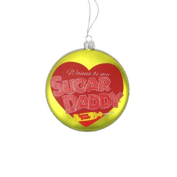 "4"" Candy Lane Tootsie Roll Sugar Daddy Original Milk Caramel Lollipop Christmas Disc Ornament - YELLOW"