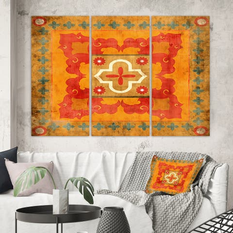Designart 'Moroccan Orange Tiles Collage II' Bohemian Chic Gallery-wrapped Canvas