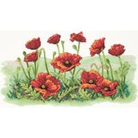 "16""X10"" - Field Of Poppies Stamped Cross Stitch Kit"