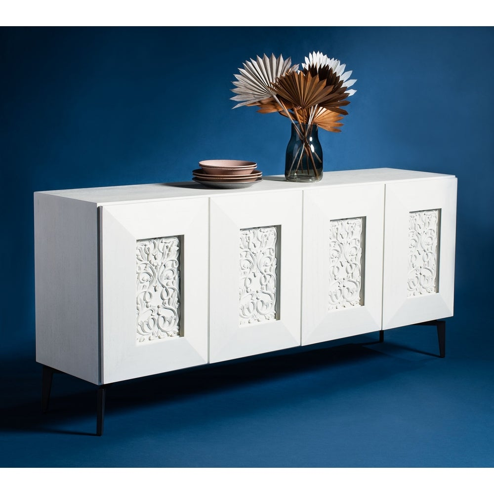 Safavieh Couture Jennings Hand-Carved Wood Scroll Storage Sideboard