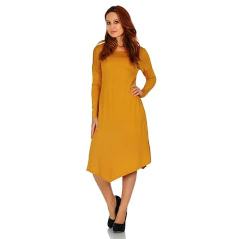 Simply Ravishing Basic Asymmetrical Hem Long Sleeve Casual Dress (Size: S-3X)