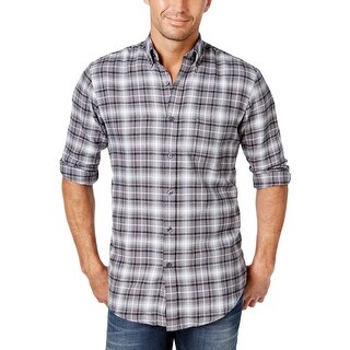John Ashford Mens Palatine Button-Down Shirt Flannel Plaid