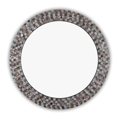 Mosaic Seashell Wall Mounted Accent Mirror - 29.72 x 29.72