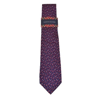 Tommy Hilfiger Men's 'Stocking Print' Silk Tie (Red/Navy, OS)