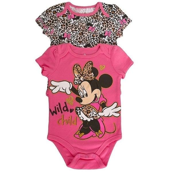 Disney Baby Girls Pink Leopard Minnie Print Cotton 2 Pc Bodysuit Pack